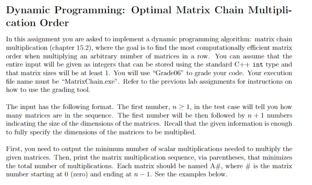 Solved Dynamic Programming Optimal Matrix Chain Multipli