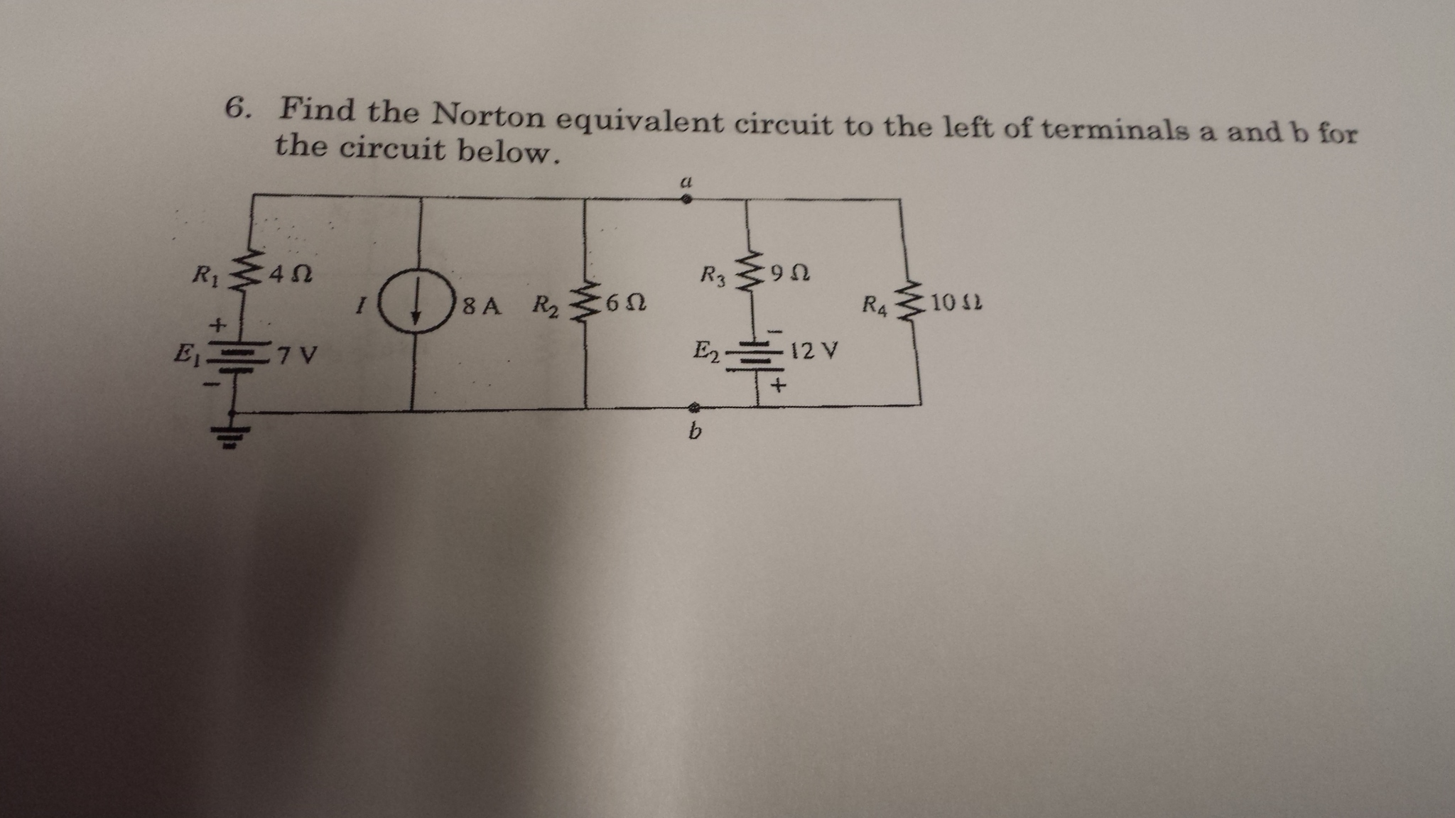 Find the Norton equivalent circuit to the left of
