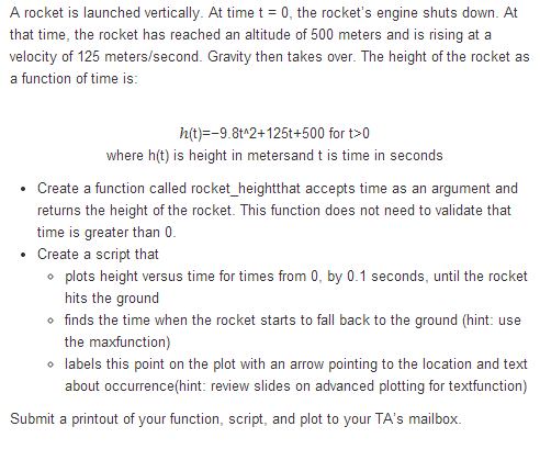A rocket is launched vertically. At time t = 0. th