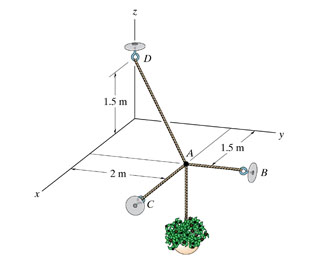 Solved the three cables are used to support the 32 kg flo the three cables are used to support the 32 kg flowerpot a determine the force developed in cable ab for equilibrium b determine the force developed in ccuart Image collections