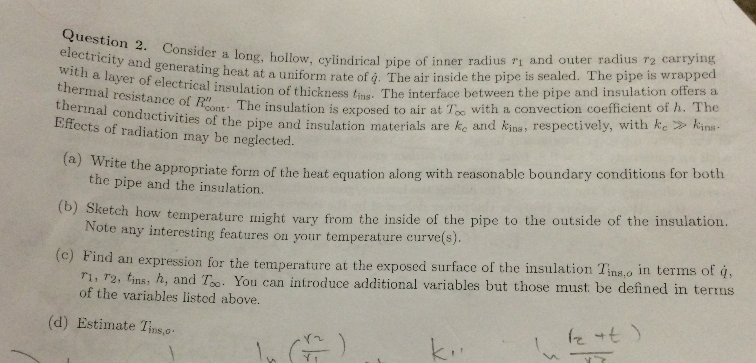Consider a long hollow cylindrical pipe of inner