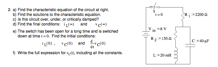 Find the characteristic equation of the circuit at