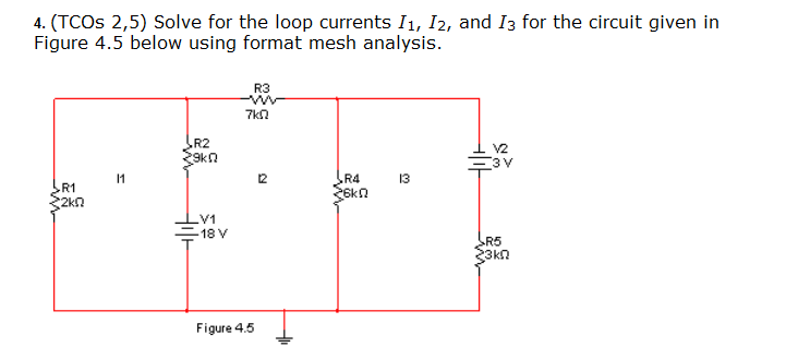 Solve for the loop currents I1,I2, and I3 for the