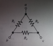 The resistive circuit below represents a delta-con