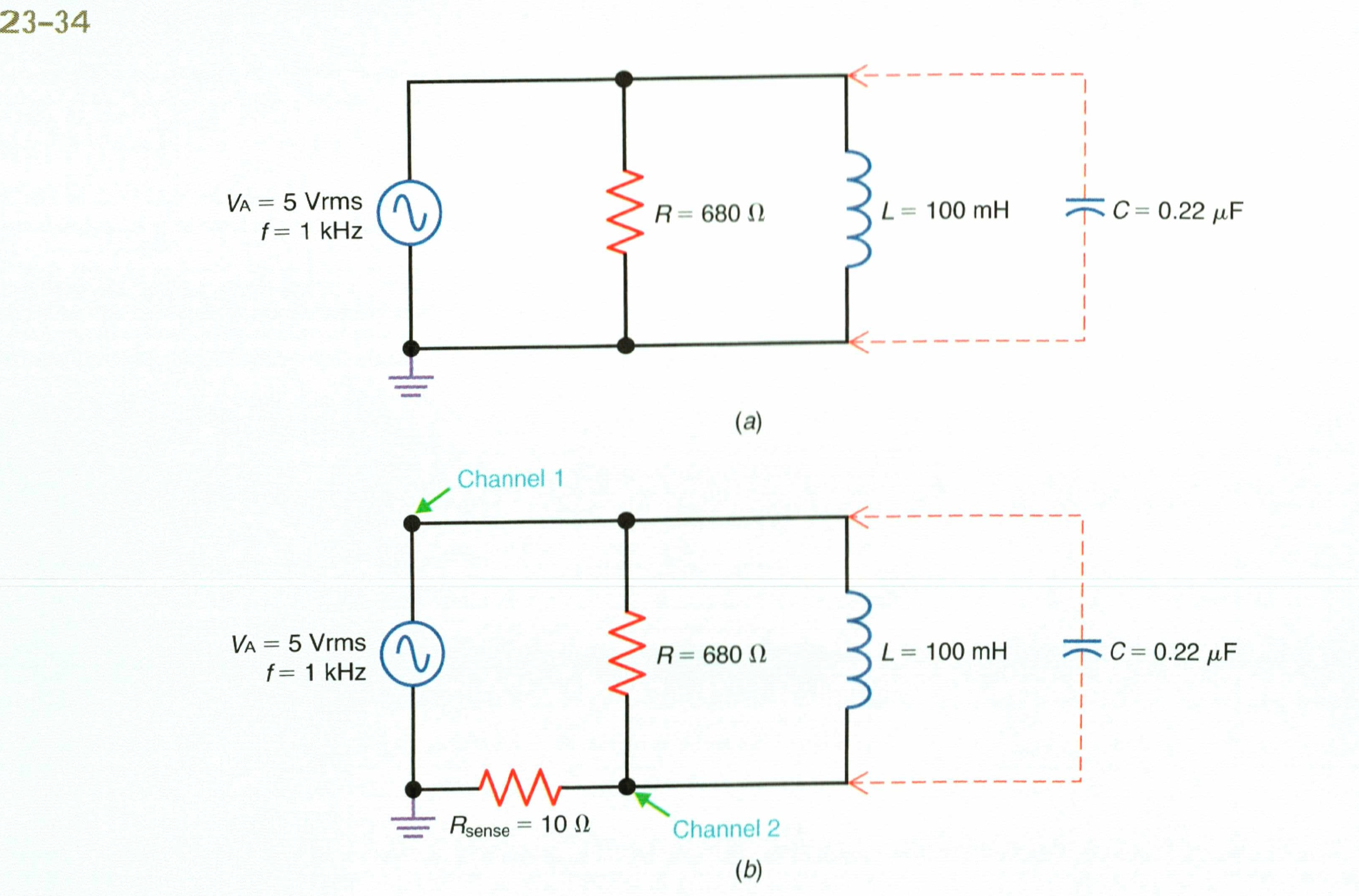 Mentally connect the .22uF capacitor in Fig23-34a