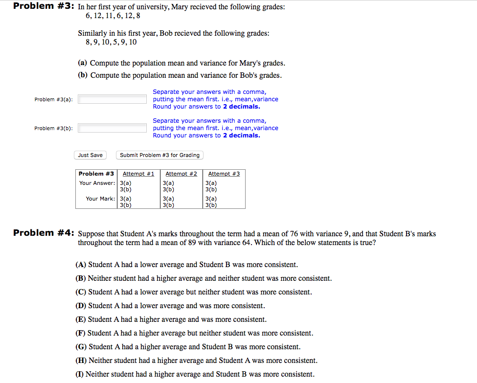 Probability and statistics example problems