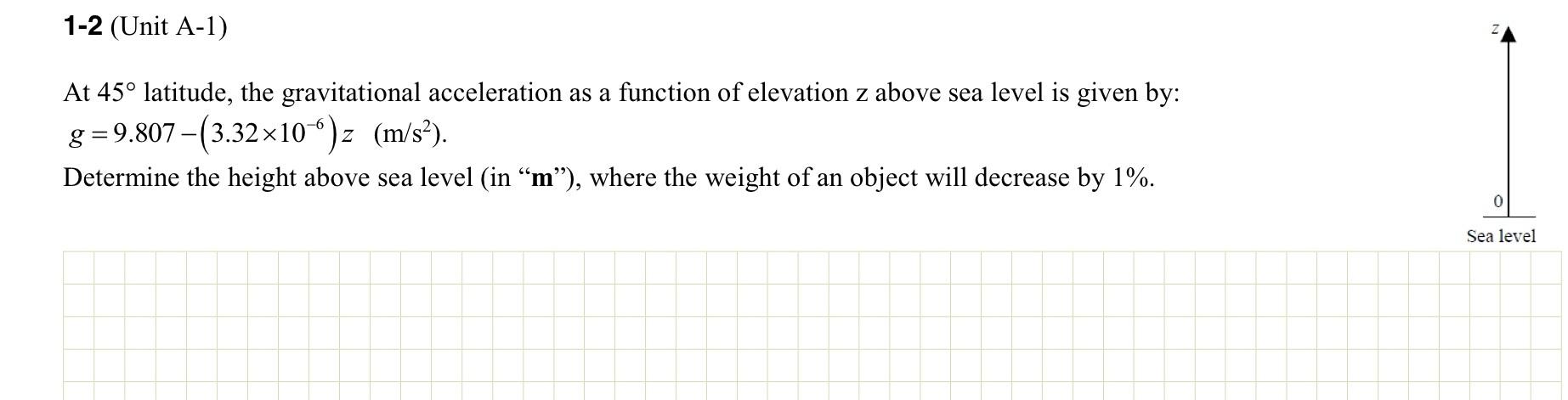 Unit A At Degree Latitude The Gravitat Cheggcom - How to determine sea level elevation