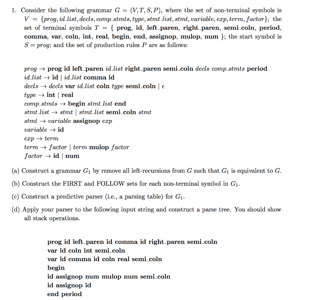 Solved 1 consider the following grammar g vtsp w 1 consider the following grammar g vtsp biocorpaavc