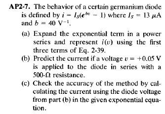 The behavior of a certain germanium diode is defin