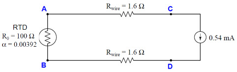 Determine the temperature of the RTD, given a meas
