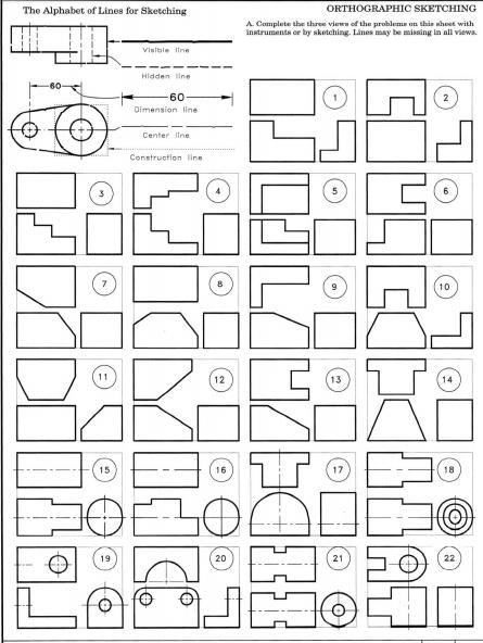 ALPHABET OF LINES | Drafting Skills | Pinterest