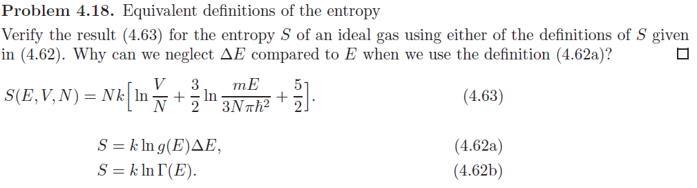 Equivalent Definitions Of The Entropy Verify The Result (4.63) For The