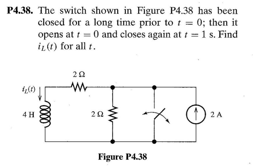 The switch shown in Figure P4.38 has been closed f