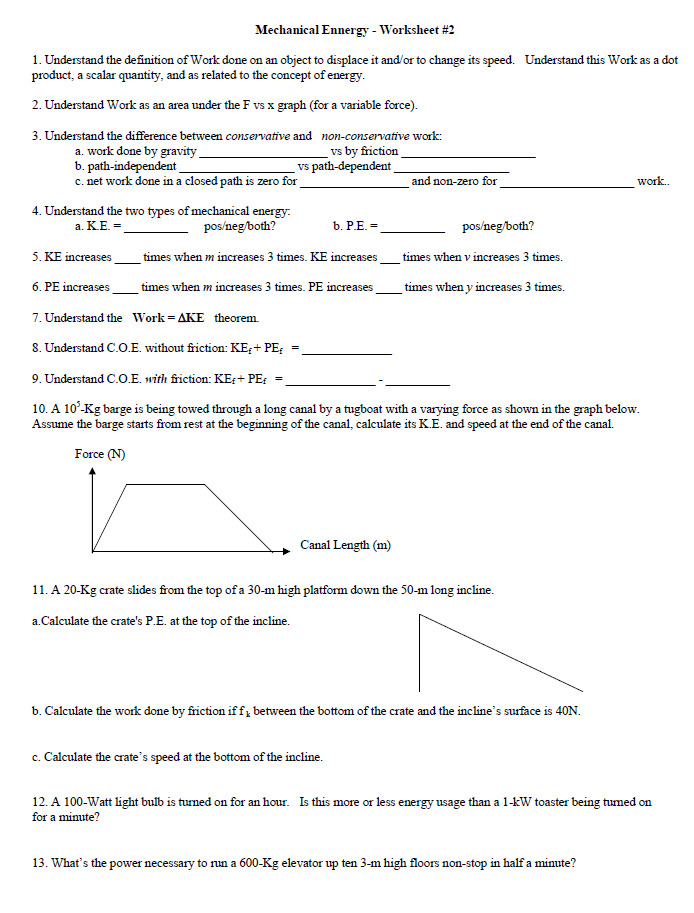 Mechanical Ennergy Worksheet 2 Understand The D – Work and Power Worksheet