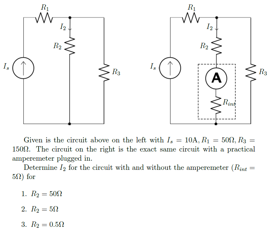 Given is the circuit above on the left with Is = 1