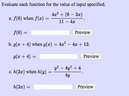 Evaluate Each Function For The Value Of Input Spec... | Chegg.com