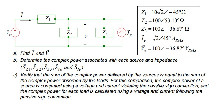 Find and Determine the complex power associated