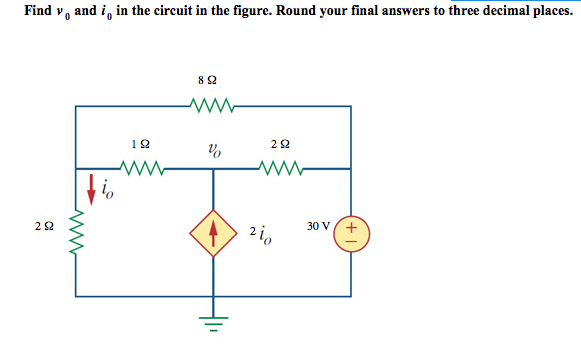 Find v0 and i0 in the circuit in the figure. Round