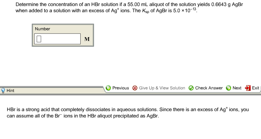 Determine the concentration of an HBr solution if