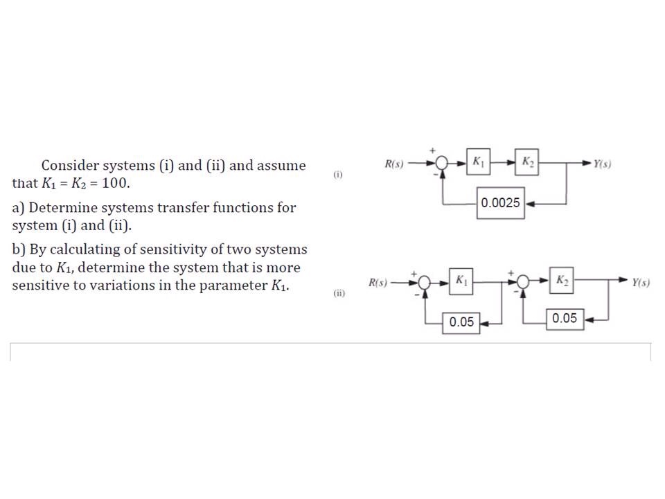Consider systems (i) and (ii) and assume that K1=
