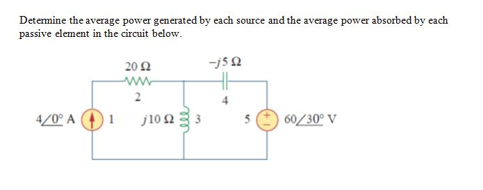 Determine the average power generated by each sour