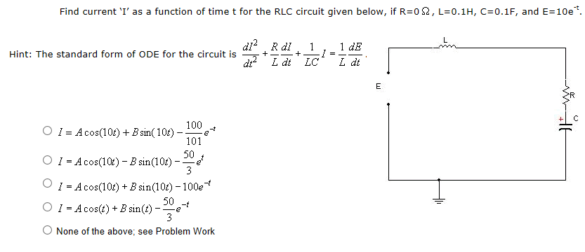 Find current 'I' as a function of time t for the R