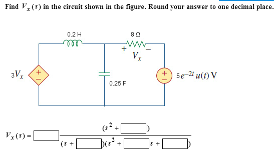 Find Vx(s) in the circuit shown in the figure. Rou
