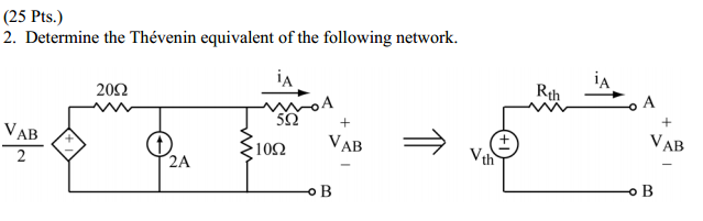Determine the Thevenin equivalent of the following