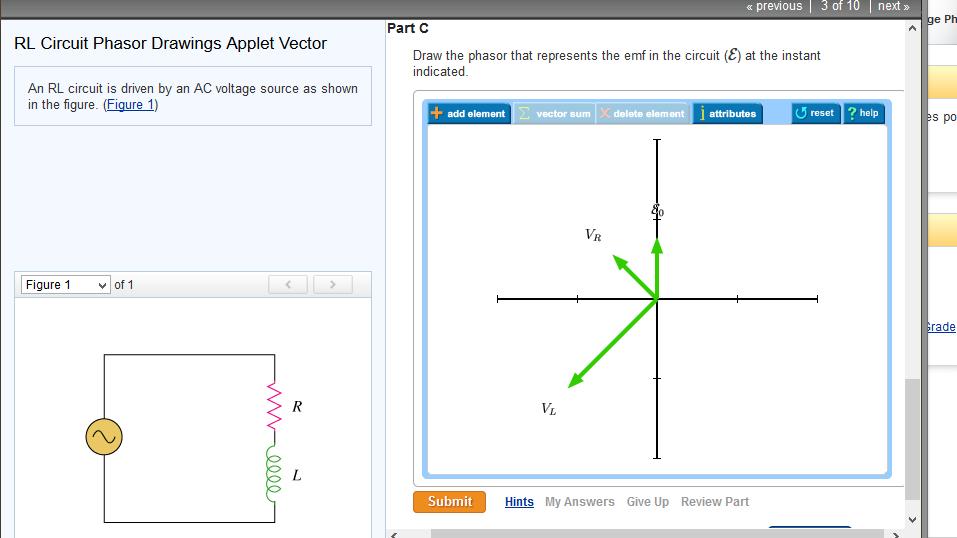 Solved: RL Circuit Phasor Drawings Applet Vector An RL Cir ...