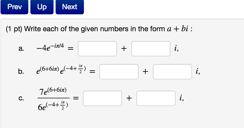 Write Each Of The Given Numbers In The Form A + Bi...   Chegg.com