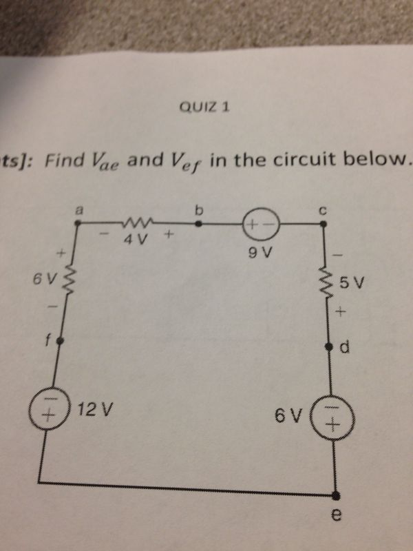 Find Vae and Vef in the circuit below.