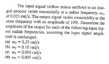The input signal (inflow minus outflow) to an inte