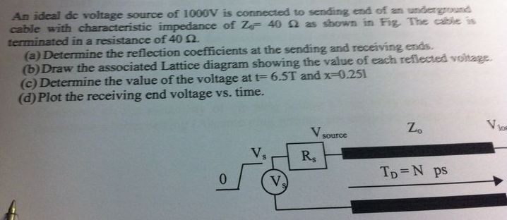 An ideal dc voltage source of 1000v is connected t