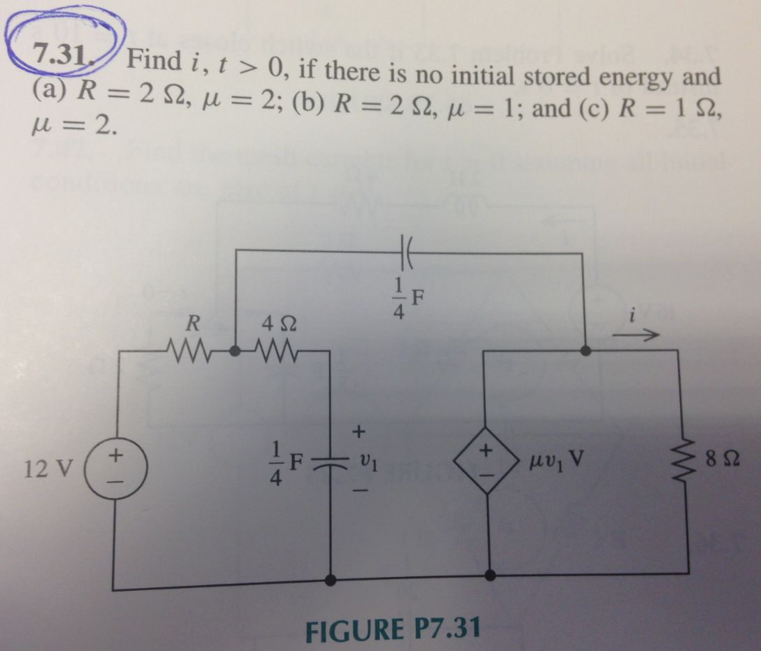 Find I, t > 0, there is no initial stored energy a