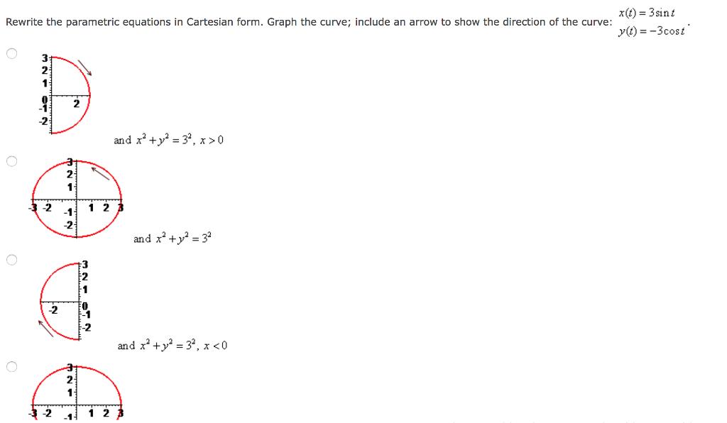 Rewrite The Parametric Equations In Cartesian Form...   Chegg.com