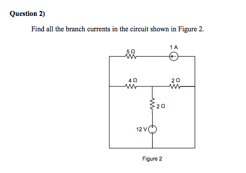 Find all the branch currents in the circuit shown