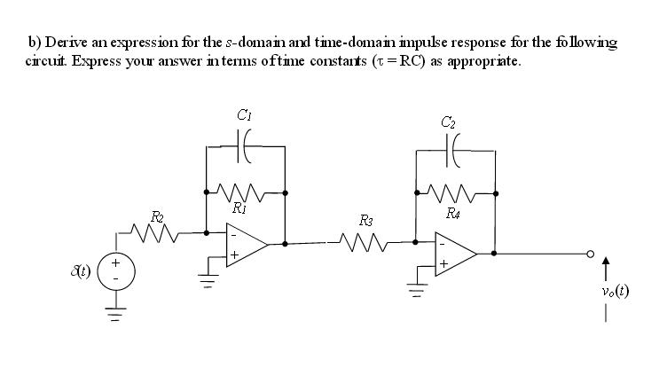 Derive an expression for the s-domain and time-dom
