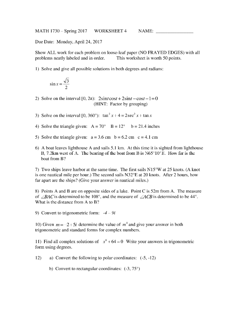 Solved math 1730 spring 2017 worksheet 4 name due date question math 1730 spring 2017 worksheet 4 name due date monday april 24 2017 show all work for each p falaconquin