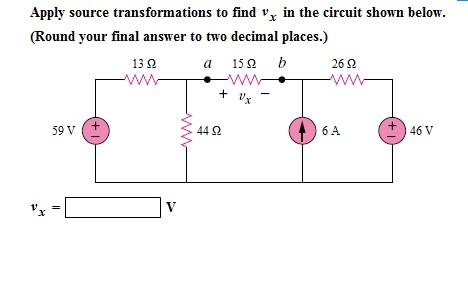 Apply source transformations to find vx in the cir