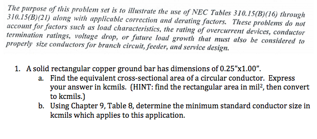 The purpose of this problem set is to illustrate t chegg question the purpose of this problem set is to illustrate the use of nec tables 31015b 16 through 310 greentooth Gallery