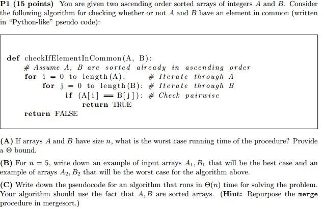 Solved You Are Given Two Ascending Order Sorted Arrays Of
