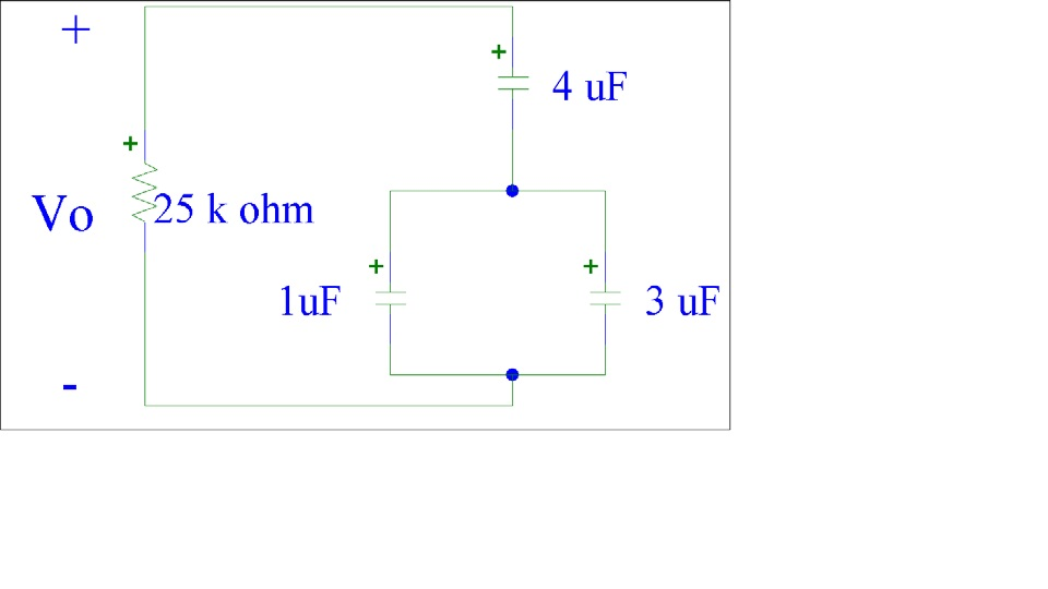 Given Vo(t=0) = 5 Volts What is the equivalent ca