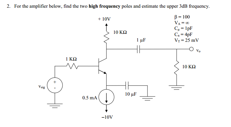For the amplifier below, find the two hgh frequenc