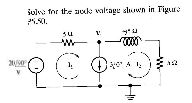 Solve for the node voltage shown in Figure p5.50.