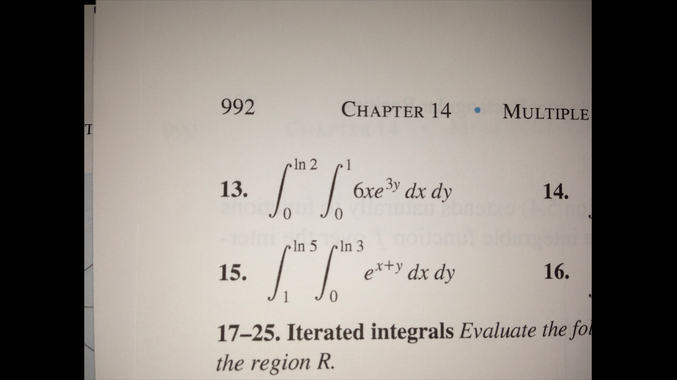 6xe3y dx dy ex+y dx dy Integrated integrals Eval