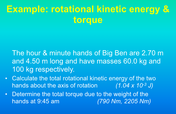 Solved: Example: Rotational Kinetic Energy & Torque The Ho ...