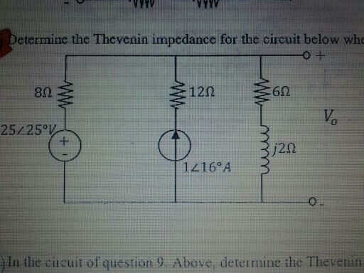 Determine the Thevenin impedance for the circuit b