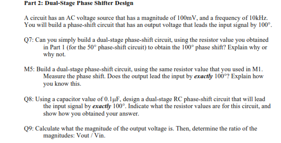 Dual-Stage Phase Shifter Design A circuit has an