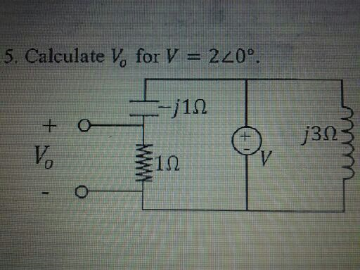 Calculate Vo for V = 2 0degree
