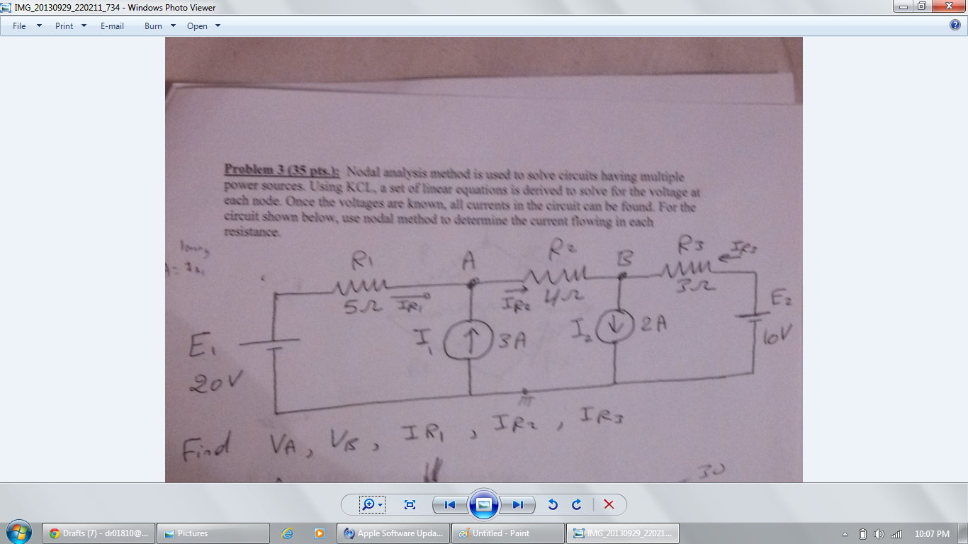 Nodal analysis method is used to solve circuits ha